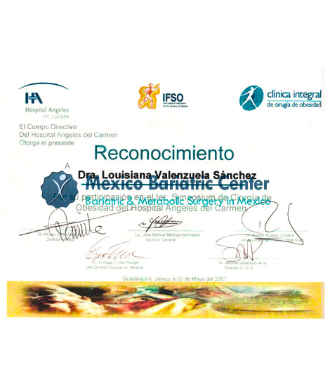 Dr. Louisiana Valenzuela Sanchez - Hospital Angeles Reconocimiento