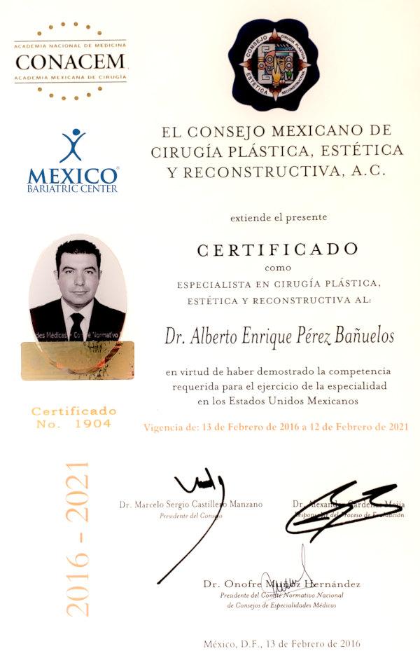 Dr. Alberta Enrique Perez Banuelas - Board Certified Plastic Surgeon in Mexico
