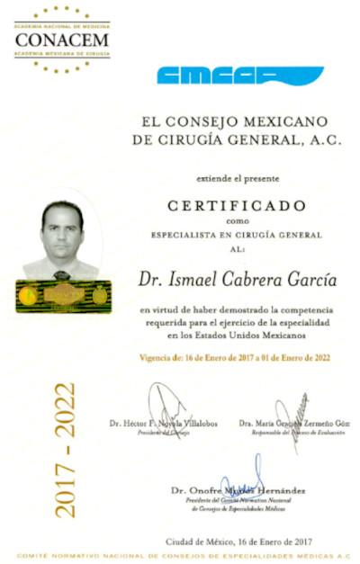 Dr. Ismael Cabrera MD Mexico Bariatric Certification