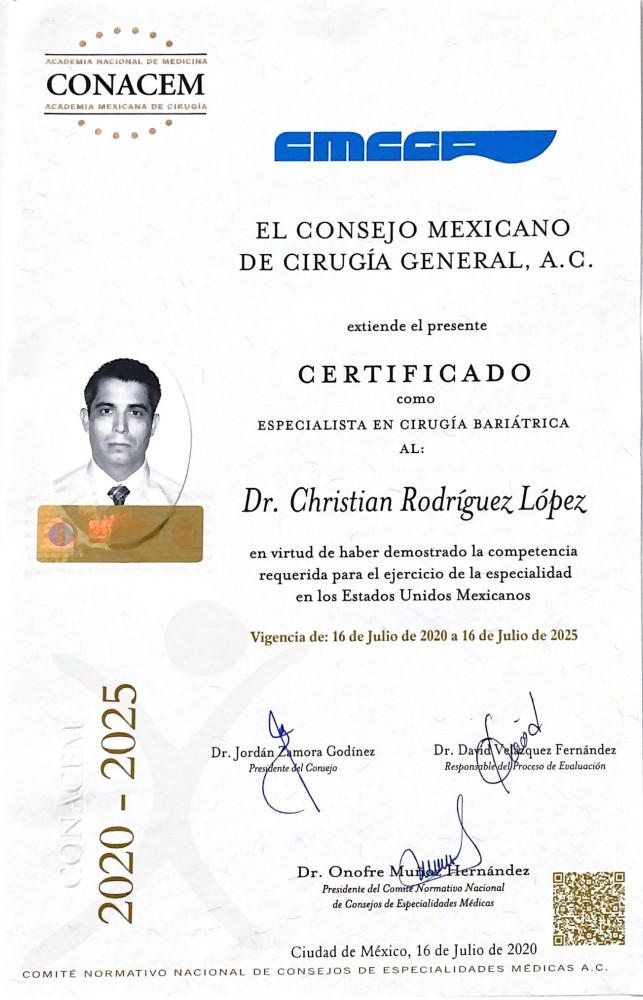 Dr. Christian Rodriguez Lopez Bariatric Board Certification